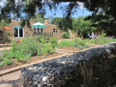 Kitchen Garden & Coop Tour 2014 - Comfy gabion bench