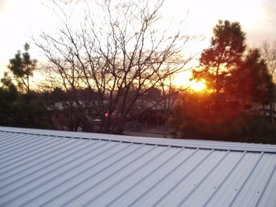 Galvalume Metal Panel Roof at Sunset