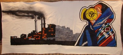 Navajo Woman in Gas Mask Banner