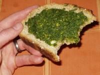 Radish Leaf Pesto on Home-made No-knead Bread