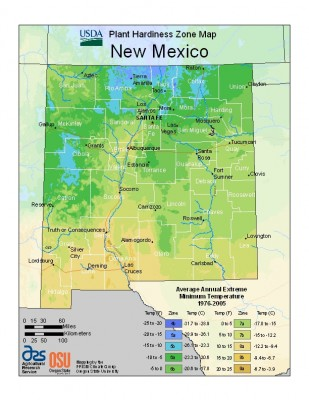 2012 USDA Plant Hardiness Zone Map for New Mexico